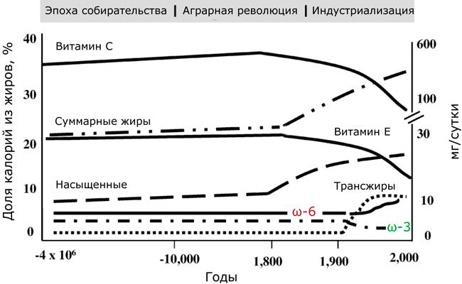 Историческая экстраполяция данных, предполагаемая динамика потребления жиров, жирных кислот и витаминов С и Е
