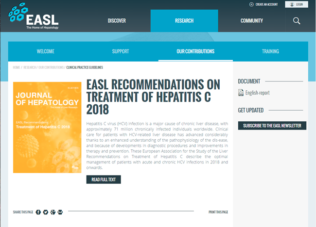 HCV guideline EASL web page